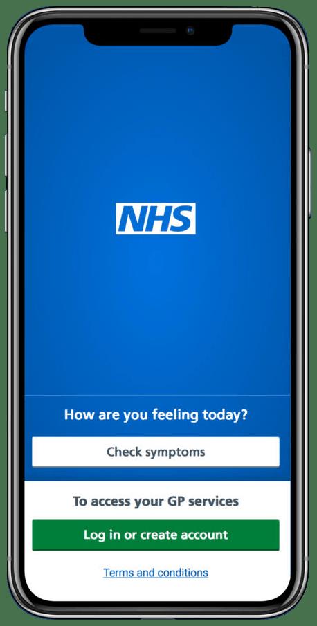 NHS App on mobile phone